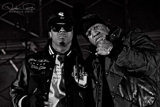 Foto do Lil Wayne & Birdman na gravação do clipe Fire Flame (Remix)