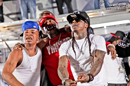 Foto do Plies, Rick Ross, Birdman & Lil Wayne na gravação do vídeo clipe Welcome to My Hood