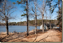 lake and boat house