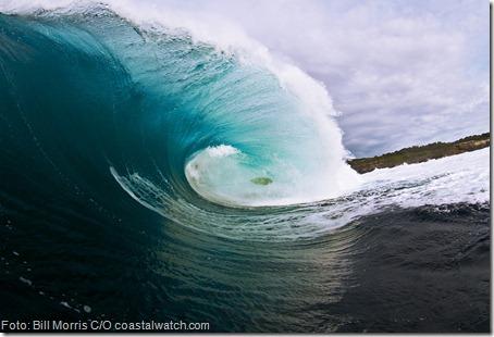 Kobi na onda que quebrou seu pescoço. Foto: Bill Morris C/O coastalwatch.com