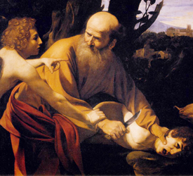 Caravaggio (1601), Abraham, sacrificio de Isaac, Galleria degli Uffizi, Florencia