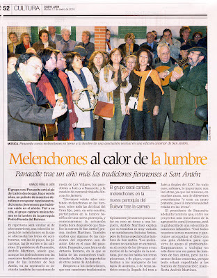 El grupo PANACEITE cantará en la Lumbre de San Antón