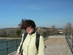 Wind-blown hair