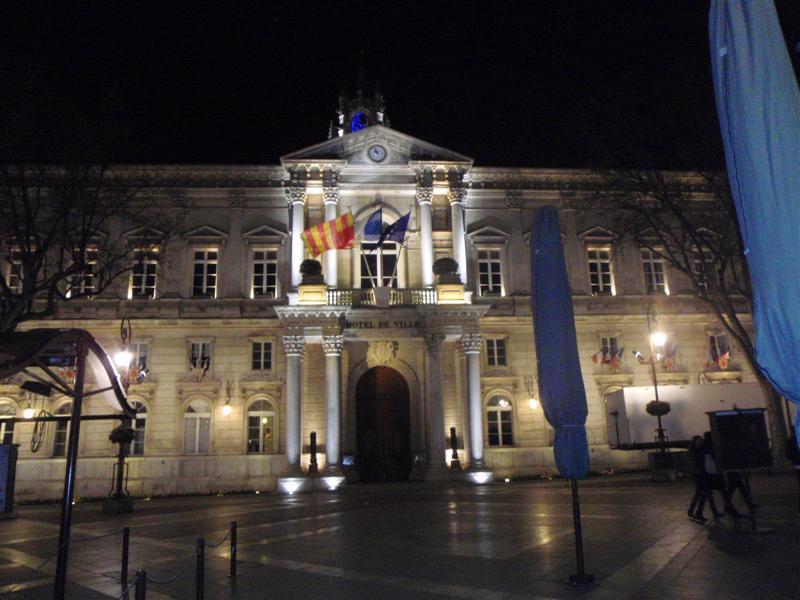Avignon City Hall at night