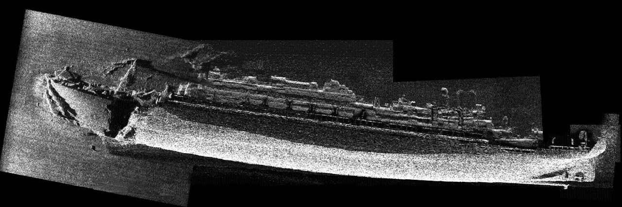 Side Scan Sonar Image Of The Brittanic Shipwreckporn