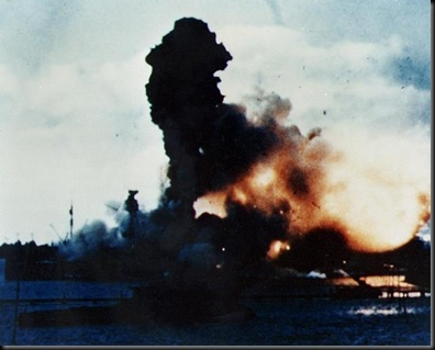 USS Arizona magazines exploding
