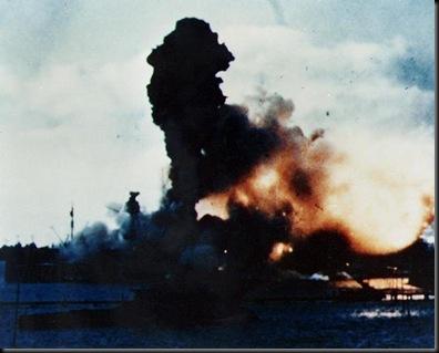 USS Arizona magazines exploding