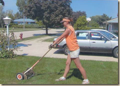 orange lawnmowing outfit