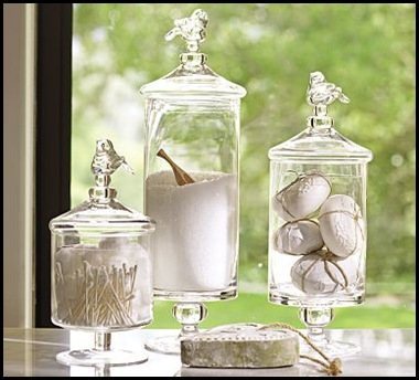 glass bird canisters