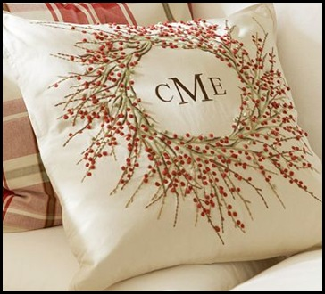 berry wreath embroidered pillow