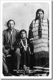 Black Elk with wife and daughter, circa 1890-1910.