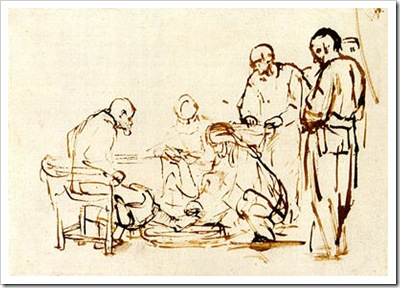 Christ Washing the Feet of his Disciples, Rembrandt, c. 1655