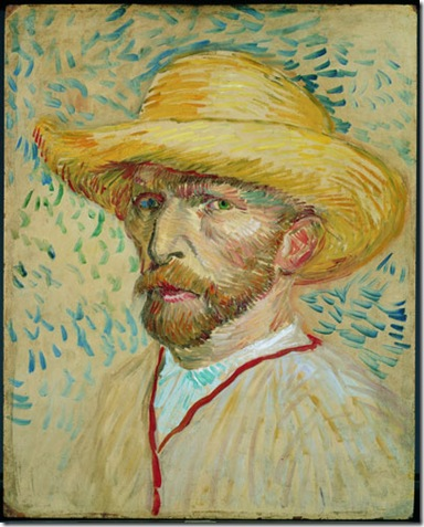 Vincent van Gogh (1853-90), Self-Portrait With a Straw Hat and Artist's Smock, 1887. Oil on cardboard, 40.8 x 32.7 cm. Van Gogh Museum, Amsterdam (Vincent van Gogh Stichting).