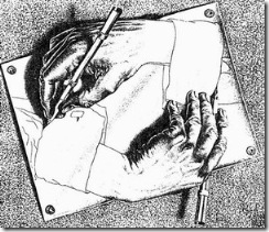 Drawing Hands, a 1948 lithograph by M. C. Escher