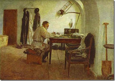 Ilya Repin. Leo Tolstoy in His Study. 1891. Oil on canvas. The State Literature Museum, Moscow, Russia.