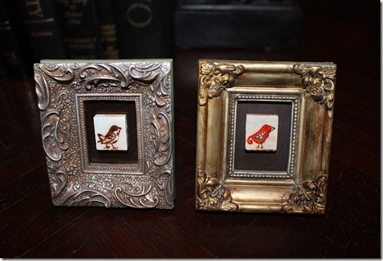 little scrabble birds in frames
