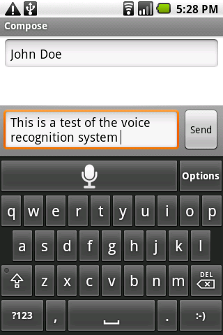 Screenshot of application in use