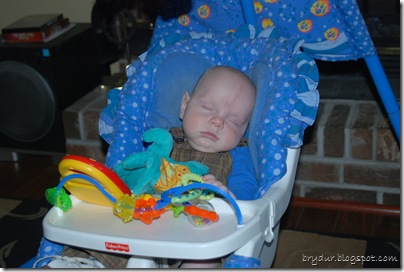 Asleep in his swing