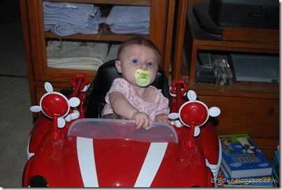 Giada driving the car