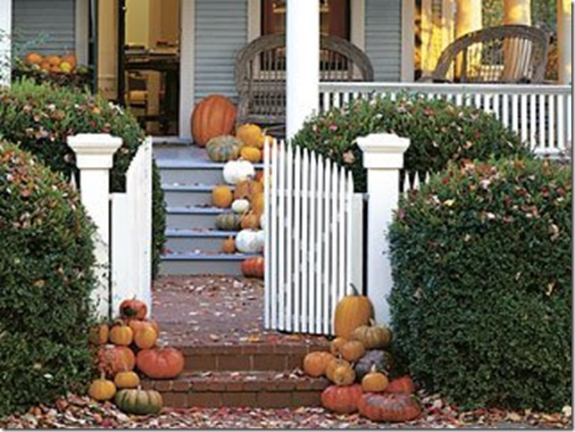 cottage living porch pumpkins