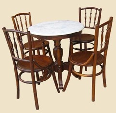 Kopitiam tables and chairs in original teakwood
