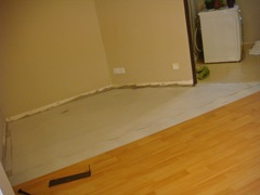 Laminated floor panels removed from the breakfast area