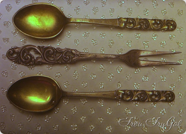 vintage cocktail fork and spoon