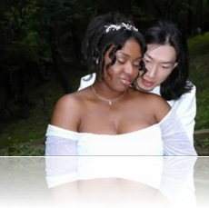 Interracial couple, black woman, Asian man, Ami and Yuan at their wedding