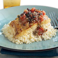 Halibut with Capers, Olives, and Tomatoes