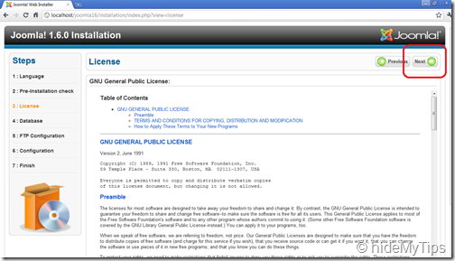 Joomla Installation 1.6  Agreeing License