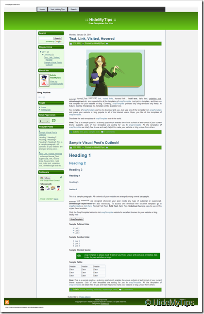 Naive Glossy Green Blogger Theme template