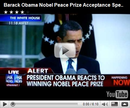 obama nobel peace prize acceptance speech In his acceptance speech dec 10, 2009 (scroll down for that video),  2009  nobel peace prize lecture by barack obama info shopping.