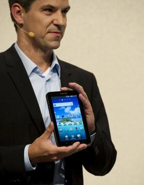Thomas Richter, Head of Portfolio Management for Telecommunications Europe of Samsung presents the new Samsung Galaxy Tab