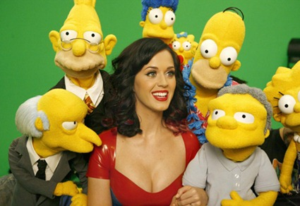"Singer Katy Perry poses with characters from the FOX network series ""The Simpsons"" in this undated publicity photograph released by Fox September 27, 2010.[Photo/Agencies]"