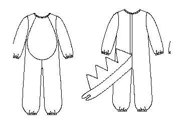 el disfraz esta basado en los patrones de dinosaurio de butterick 6695