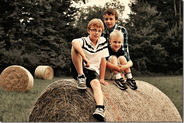 boys on the bale
