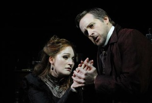 Ingrid Perruche as Mélisande and Andrew-Foster Williams as Golaud [Photo by Belinda Lawley]