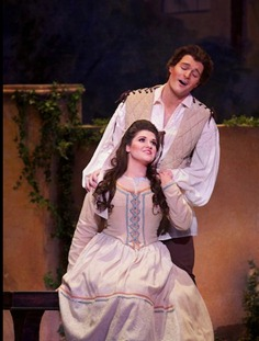 Jonathan Blalock as Fenton and Kathryn Lewek as Nannetta in Verdi's FALSTAFF, Mercury Opera Rochester, 2011 [Photo courtesy of Mr. Blalock]