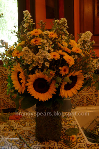 wedding flowers entryway sunflowers