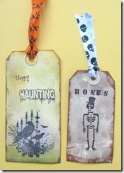halloween tags crow bones
