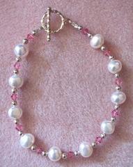 flatback pearl pink crystal bracelet