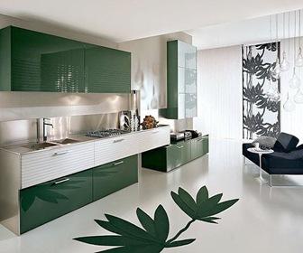 cocinas-minimalistas-color-verde-blanco