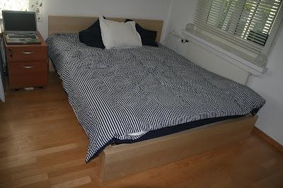 Ikea  Frame Slats on Queen Bed And Mattress Chf 450 Ikea Hopen Medium Brown