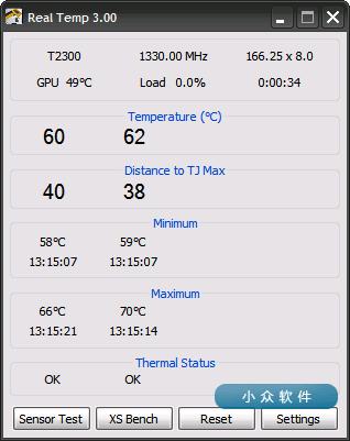 Real Temp – 显示 CPU 实时温度,防止笔记本过热