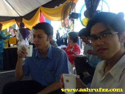 Having a nice meal at the Opening of Maybank Taman Equine