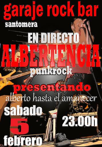 Cartel Albertencia en Garaje Rock Bar de Santomera, Murcia