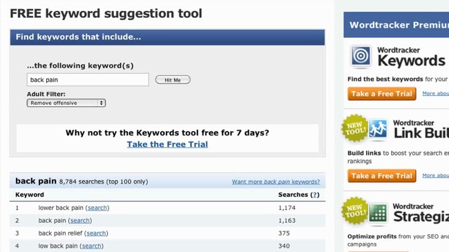 Free keyword tool has no list functionality