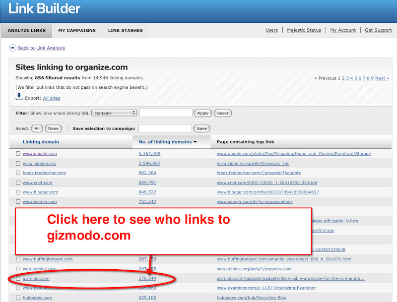 Link Builder: click here to see who links