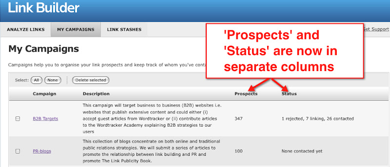 Link Builder: Link Prospects and Status are now separate