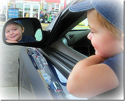 Collin in rearview mirror